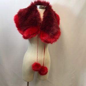 BP Glam Faux Fur Collar Red / Burgundy Pom Pom New